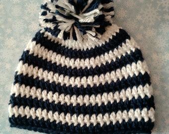 Crocheted Blue and White Hat