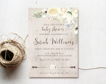 rustic baby shower invitation girl boho white flower arrow printable invite