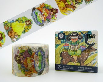 Gorgeous WIDE Whimsical Women of the Forest Chinese washi tape! Flowers & swans - deer and birds - nature ladies - cat and mouse - cute home
