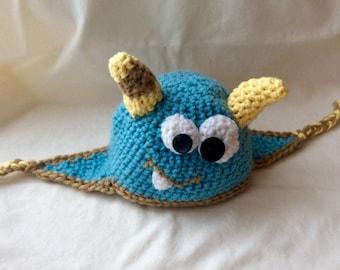 Crochet Baby Boy Blue Monster Hat