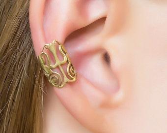 Gold Ear Cuff. brass ear cuff. gold ear wrap. bohemian jewelry. cartilage cuff. ear cuffs earring. festival earrings. ear cuff no piercing.