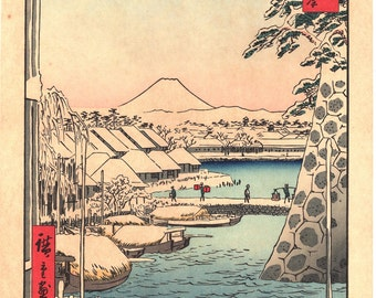 "Woodblock print, Japanese Ukiyoe, Hiroshige, ""Riverbank at Sukiya in Edo"", Thirty-six Views of Mount Fuji ."