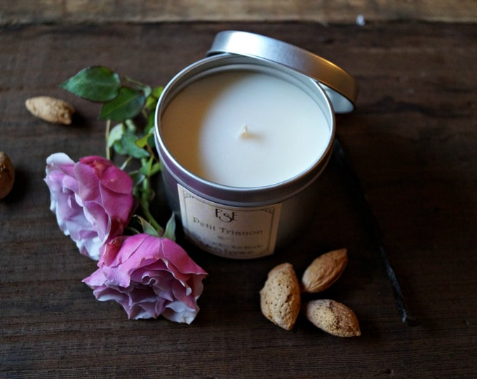 """Soy Candle, Vanilla Bourbon, Almond, Rose, """"Petit Trianon"""", 6oz, Tin candle, Scented Candle, Bff gift, Natural, Luxury and romantic candle"""