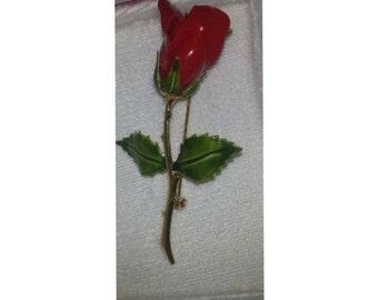 Vintage  Red Enamel Rose Brooch, Tacoa, Vintage, Rose Pin in Original Box with Label, Red Rose Brooch, Vintage Tacoa, Circa 1960s