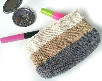 Knit Makeup Bag - Makeup Organizer – Knit Bag – Large Zipper Pouch – Gift for Her - Knit Pouch - Travel Tote - Cosmetic Bag - Make Up Bag