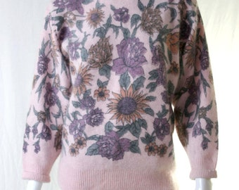 groovy 70s wool floral print sweater