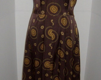 Vintage Brown Halter Dress,  Size Small (6-8)