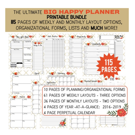 "115 Page BIG HAPPY PLANNER Printable Bundle!  Monthly and Weekly Layout Options - Organizational Forms and Much More!  115  8.5 x 11"" Pages"