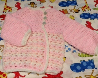 Baby girls crocheted cardigan in sizes from Newborn - 12mths