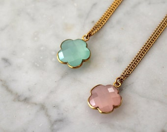 """Pemberley pendant plated gold set with fine stone flower with """"Diane"""" (2 colours) - necklace - Gold plated necklace - Gemstone during"""