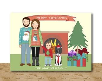 Custom Christmas Cards, Cartoon Portrait , Fireplace Holiday Cards, Family Illustration, Digital Printable