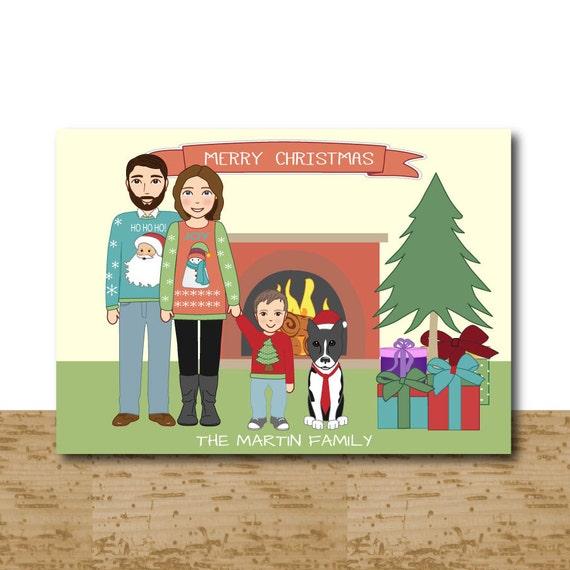 Custom Christmas Cards Cartoon Portrait Fireplace Holiday