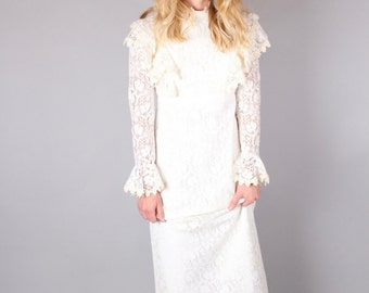 vtg 60's lace WEDDING DRESS bell SLEEVE high neck