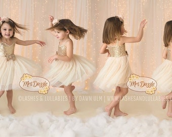 Ivory flower girl dress, Ivory Gold Dress, Gold Sequin Dress, Ivory Flower Girl Dress,Rustic Dress,Birthday Girls Dress,Cream Girls Dress