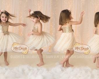 Ivory flower girl dress, Ivory Gold Dress, Gold Sequin Dress, Ivory Flower Girl Dress,Rustic Dress,Birthday Girls Dress,Cream Girls Dress
