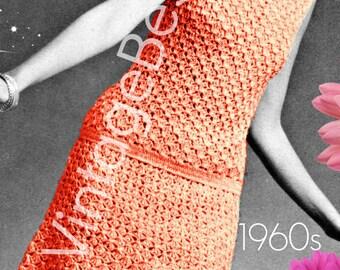 INSTANT DOWNlOAD - PdF Pattern - Dress 1960s Vintage Crochet PATTERN Mod Coral Lace Dress Ladies Summer Wear Lovely Petal Collar