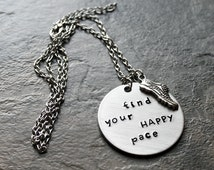 Find Your Happy Pace Running Necklace, Jewelry for Runners, Sprinters, Cross Country, Long Distance Mud Run Necklace 5k 10k Race Marathon