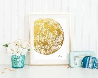 La Luna Print Wall Art Poster Gold Foil Effect The Moon Planet Vintage Illustration Bedroom Home Decor Nursery Planets 8x10 16x20