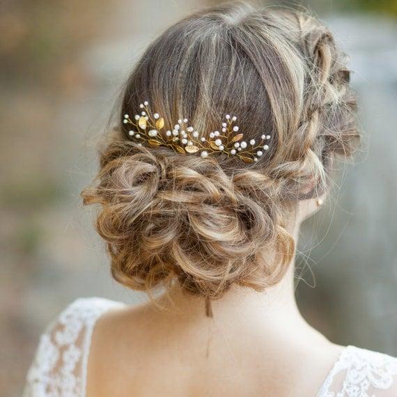 Bridal Hair With Pins : Leaf bridal hair gold wedding