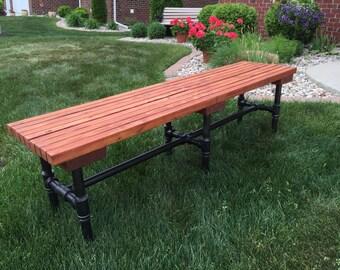 Cedar Industrial Pipe Bench - Outdoors or Indoors!