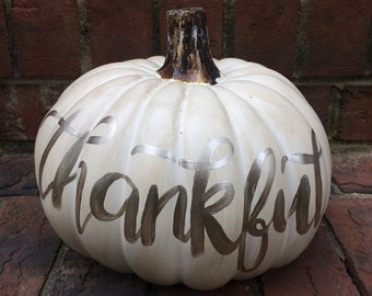 White craft pumpkin - Thankful