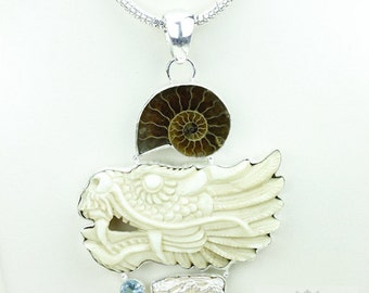 Ammonite Chinese Dragon TOTEM Goddess Face Moon Face Bone Carving 925 S0LID Sterling Silver Pendant + 4MM Chain p3893