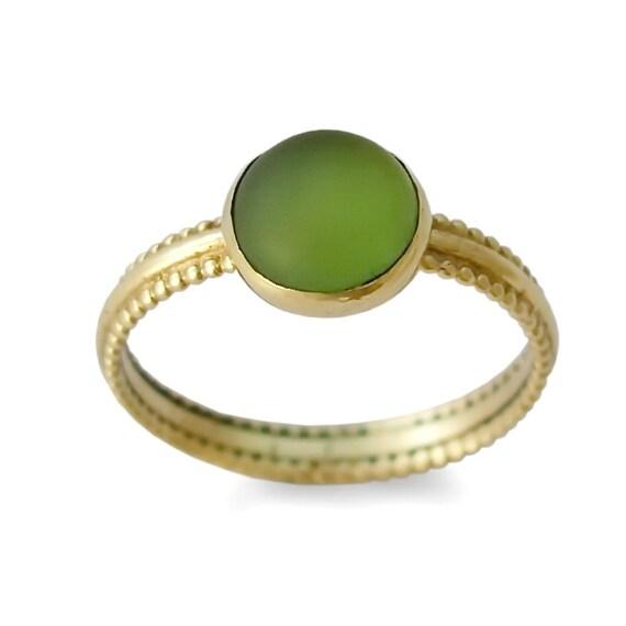 Goldring mit stein  Grüner Stein gold Ring 14K Gelbgold runde grüne Quarz-Ring