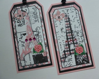 Paris gift tags bookmarks french themed eiffel tower black and pink pink rose fleur de lis party favors bon voyage book club gift - set of 6