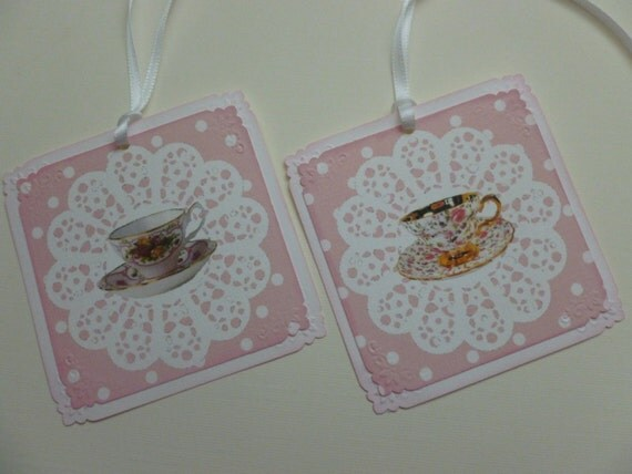 shabby chic tea party tags china tea cups white lace doily