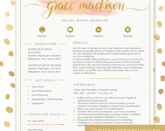 Resume Template CV Template For MS Word | 4 Pack + Social Media Icons |  Beautiful  Social Media Resume Template