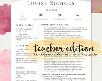 TEACHER Resume Template For MS Word | LOUISE | 1 U0026 2 Page Resume, Cover  Cover Letter Word Templates