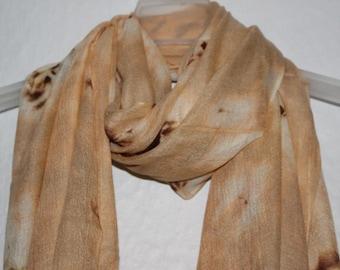 Tie Dyed Scarf, Beige Tie Dyed Flower Scarf, Womens Gift, Autumn Scarf, Spring Summer Scarf, Beige Accessories, Casual Winter Autumn Wear