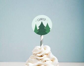 Camping Cupcake Toppers - Digital Download!