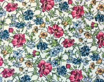 "Ballerine B Liberty fabric white green pink yellow blue fat quarter 18"" x 26.5"" (45 cm x 67 cm) The Weavers Mill"