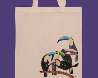 Toucan Tote Bag / market bag / gift under 20 / Hand Painted tote / cotton tote