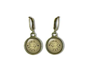 Zodiac Taurus Earrings, Taurus Dangle Earrings, Zodiac Earrings, Astrology Earrings