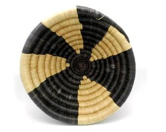 Handwoven Grass Bowl, Handwoven Basket, Black and Natural Basket, Wall Art, African Basket, Made in Rwanda, Natural Grass Bowl