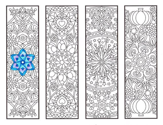 Coloring Bookmarks - Cool Weather Mandalas - coloring page for adults, kids and bookworms - four printable bookmarks to color