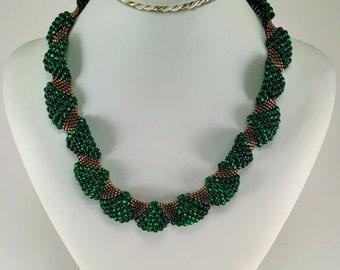 Wavy Necklace | Green Bronza Beaded Necklace | Wedding Neckalce | Original Gift | Wave Necklace | Unique Jewelry