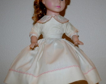 "Vintage Doll Dress, 1940's Handmade Dresses For a 16"" Doll, Doll Dress, White Cotton Doll Dress, Short Sleeved Doll Dress, Round Collar"