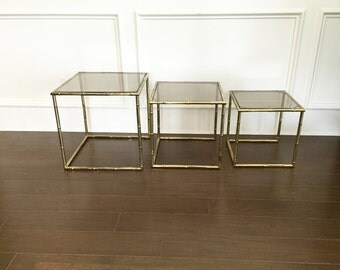 Captivating Vintage Brass Faux Bamboo And Smoked Glass Nesting Tables, Set Of 3 |  Hollywood Regency