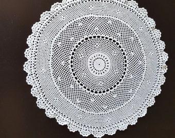 Vintage, Handmade ,Crochet Lace Doily,Crochet Lace Napkin, Lace Doily, Vintage Decor,Vintage doily, round shape, white, 390mm, cotton
