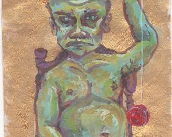 Original Painting Art Print - Yo-Yo Man Portrait