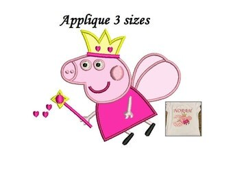 Peppa Pig Applique Design - 3 sizes Embroidery design - Instant Download