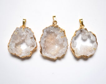 Middle size Nature White Geode Druzy pendant necklace,White Druzy Agate Pendant with Gold Electroplated Edges--  Drusy Pendant