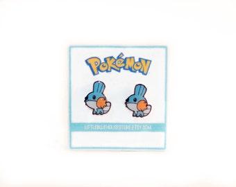 Mudkip Earrings - Pokémon Earrings | Silver Earrings | Stud Earrings | Gift Idea | Geeky Earrings | Gamer Earrings