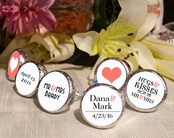 108 Mr and Mrs Hershey Kiss® Stickers  -Wedding Kiss Labels - Candy Labels - Custom Labels - Wedding Favors - Candy Stickers
