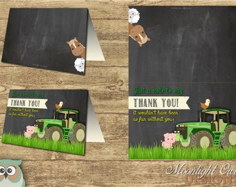 John Deere Inspired Tractor Thank You Cards