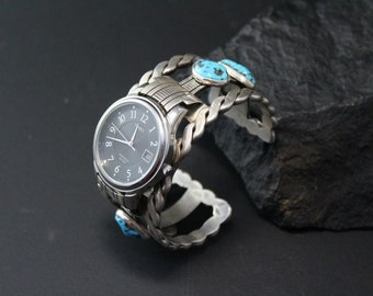Navajo Turquoise Watch Cuff, Begaye Watch, Native American Watch, Sterling Silver Turquoise Watch Cuff, HERBERT BEGAYE Jewelry
