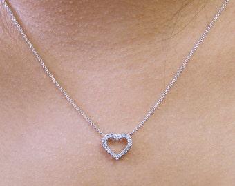0.2 ct.tw Heart Pendant Necklace-Brilliant Cut Pave Set Diamond Simulants-Petite Open Heart Necklace-Solid Sterling Silver [7952]